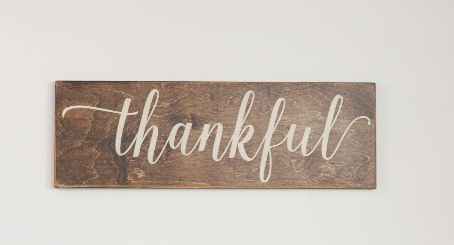 Thankful wood sign stained wood sign thanksgiving harvest for Sign decoration