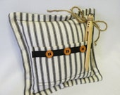 Gift for Boys - Tooth Fairy Pillow - Clothespin Doll - Black White Stripe - Farmhouse - Rustic