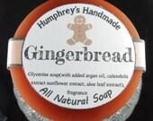 GINGERBREAD soap, Nutmeg Ginger Cinnamon Clove Glycerin Soap, Brown Christmas Men's Shave Soap, Round Soap Puck Unisex, Women's Soap
