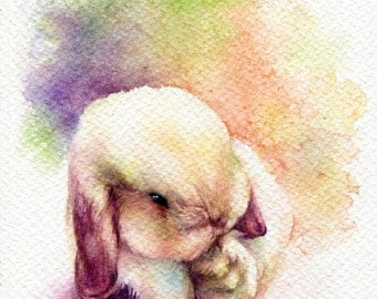 PRINT – Little Rabbit Watercolor painting 7.5 x 11""