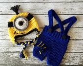 Minion Inspired Beanie in Yellow, Black and Blue with Matching Shorts Overalls Available in 4 Sizes- MADE TO ORDER