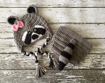 Little Miss Raccoon Hat and Matching Daiper Cover/ Raccoon Costume in Gray, Black and White Available in 5 Sizes- MADE TO ORDER