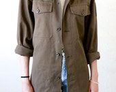 Military Shirt, Vintage Austrian Armed Forces button down front Military Oxford, mens small
