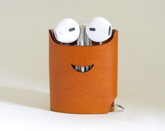Smiling Earphone Case - Tea Brown - The Case with a Face - Leather Earphone Case / Earpod Case / Earphone Wrap / Earbud Organizer