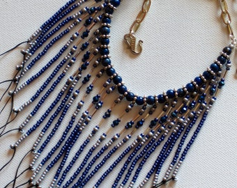 Native American beaded necklace in lapis, denim blue and silver