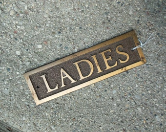 Brass LADIES Sign, Door Sized Sign