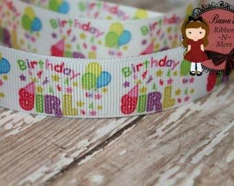 Happy Birthday balloons blue purple pink white  dots 7/8 grosgrain