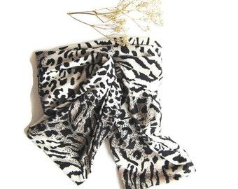 Leopard Jersey Scarf, Headband scarf, Dark Brown Sugar Jersey Scarf, Headband, Bow Scarf, Tube Scarf, scarf tie New Spring Fashion