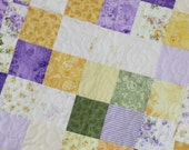 Baby Quilt Shabby Chic Scrappy Quilt Lavender and Yellow Size 30X30  Ready to Ship