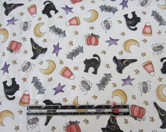 Halloween Fabric. Dianna Marcum for Marcus Brothers Textile Halloween Fabric. Witch Hats, Spiders, Pumpkin more.  BTY