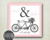 Tandem Bike Wedding Favor Label // Tandem Bike Label // Personalized Label // Favor Box Label // Wedding Favor Box