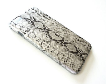 """For Apple iPhone 6 6s Plus 5.5"""" Silver Python Snake Skin Patent Leather Phone Cover Hard Case"""