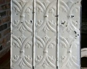 """12"""" Antique Tin Ceiling Tile - Wall Tin -- Cream Colored Paint with Pretty Repeating Pattern"""