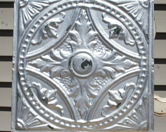 "Genuine Antique Ceiling Tile -- 12"" x 12"" -- Distressed Silverd Paint -- Beautiful and Intricate Design"
