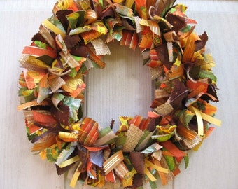 Fall Wreaths, Ribbon Door Wreaths for Fall Decor, Fabric Wreath, Autumn Front Door Wreath, Thanksgiving Decor