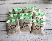Wedding Bird Seed Send Off Favors - Personalized - Initials & Heart - Set of 10