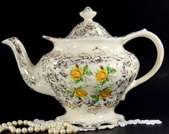 Shabby Sadler Teapot, Vintage Tea Pot, Gilt Chintz, Yellow Roses, English Tea 12633