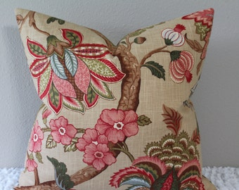 """Fabricut Trend Document Jacobean/Floral Print  - BOTH SIDES - 18"""", 20"""" or 22""""  Square Decorative Pillow Cover"""