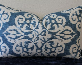 """Spicer Ivy Basket Weave Ikat Pillow Cover in Lapis Blue - 14"""" x 22"""" Lumbar Size - Decorative Designer Pillow Cover"""