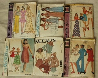 McCall's Pattern Lot of 6 Dated 1970's Misses Sizes 10-12