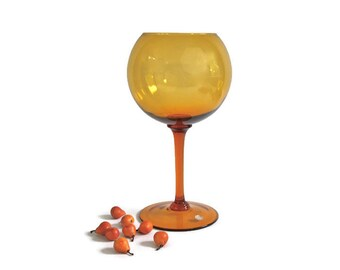 Retro Style Balloon Vase - Murano Amber Glass, Mid Century Modern, Vintage Home Decor, c1950s
