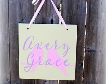 """Custom Wooden Sign - 12"""" x 12"""" - Baby Room Decor MADE TO ORDER Nursery sign"""