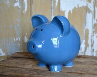 Dark Blue Large Ceramic Piggy Bank - Personalized