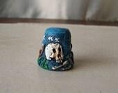 Vintage Thimble New Orleans Voodoo Skull Cross Bones Louisiana Voodoo Doll 1990
