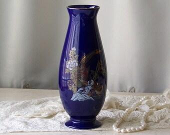 Vintage Cobalt Blue Porcelain Pheasant Vase Oriental Pheasant Vase Cobalt Blue Decor Vintage  1960s Decor
