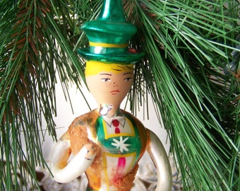 Vintage Christmas Ornament Glass Boy Made in Italy Hand Blown Glass Holiday Decor Glass Ornament Vintage 1940s