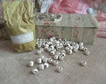 Antique French Passementerie Ivory White Silk Threaded Bobble Trim Beads