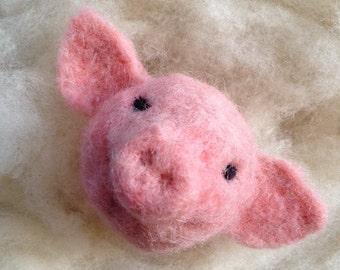 Pig wool ball ornament - needle felted farm animal needle felted pig cute pink pig wool piglet