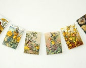 Flower Fairies Garland, Cicely Mary Barker, Flower Fairy Bunting, Nursery Bunting, Recycled Banner. Eco-friendly Pennants
