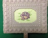 PRICE LOWERED Kitschy Handmade Lavender Plastic Canvas Needle Point Box Cross Stitched Flower, Jewelry Box, Treasure Box, Nic Nack Box