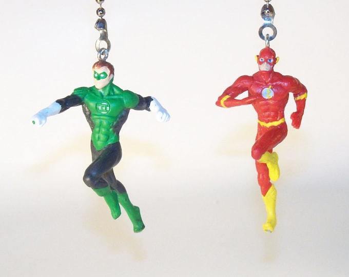 Green Lantern & The Flash Ceiling Fan Light Pull Chain, Kids Room Decor, Man Cave Decor, Boys Gift, Superhero Decor, Practical Gift