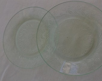 Vintage Plates, Pale Green Depression Glass Small Plates, Sandwich Glass, 2 Pieces