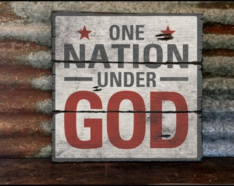 "Large ""One Nation Under God"" Handcrafted Rustic Wood Sign - Original Alpine Graphics Design - 3 Sizes - 2044"
