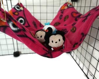 Pink owl Rat hammock, owl hammock,  pocket hammock, ferret, fleece cage accessories, pet sleeping bag, wire cage accessories, rat bed