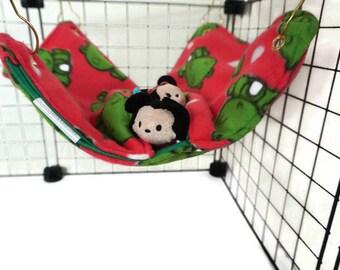Frogs #7 Rat hammock, green hammock, frog hammock, pocket hammock, pink hammock, fleece cage accessories,  pet sleeping bag, rat bed
