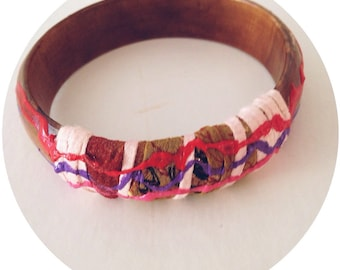 Recycled fiber art bangle