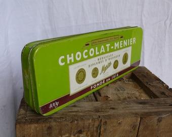 Chocolate Tin, Green sweets tin, bon bons container,  lime green kitchen,  French vintage housewares, French farmhouse style kitchen,