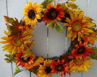 Sunflower Wreath  Autumn Wreath    Home Decor   Front Door Wreath  Sunflowers  Elegant Wreath  Hand Crafted Wreath  Autumn Wreath