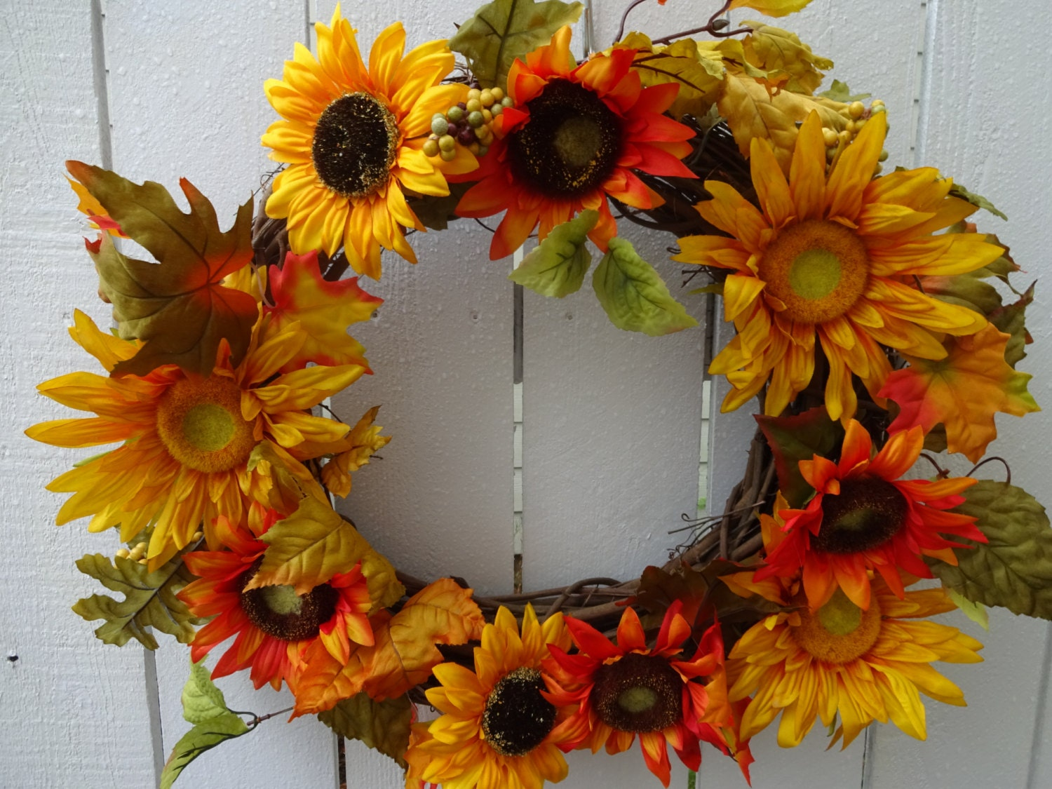 Sunflower Wreath Sale Autumn Wreath Home Decor Front