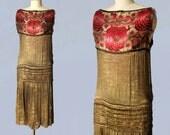 1920s Dress / 20s GOLD Lamé Flapper Dress / RARE!! Metallic / Wedding