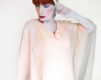 Vintage Chiffon Gown - Attached Chiffon Cape - 70s Pastel Formal