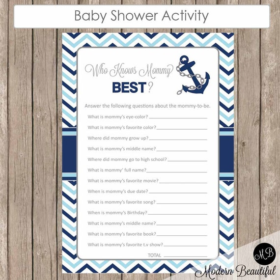 Nautical Who Knows Mommy Best, Navy And Blue Who Know Mommy Best Game, Baby  Shower Game, Nautical Baby Shower Activity Game, Nbn1