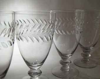 4 Laurel Etched Water Glasses