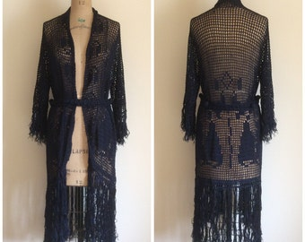 1920s Crochet Fringe Flapper Sweater Dress 20s Cardigan Coat Duster Navy Blue