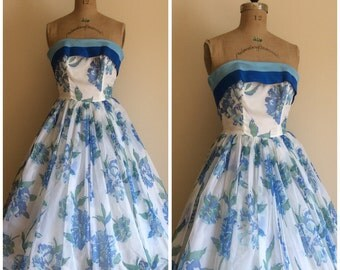 Vintage 1950's White Blue Floral Formal Dress 50's Wedding Party Dress