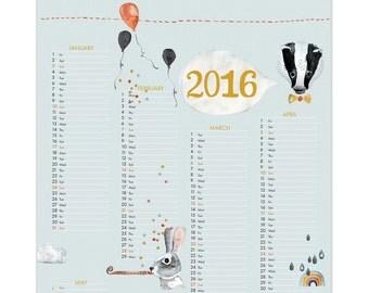 SALE! large 2016 post kids calendar